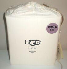$198 Retail ~ UGG QUEEN SIZE 4pc Sheet Set SNOW Cotton Sateen