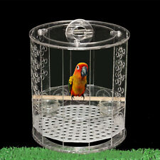 H24cm Transparent Acrylic Bird Cage w/hook Two Basins+Standing Stick Easy Carry