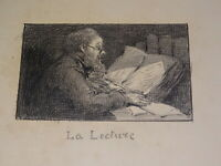 Ecole FRANCAISE XIX XX DESSIN HOMME LECTURE CLAIR OBSCUR ent. FANTIN LATOUR 1900