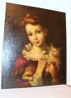 antique 1800's original Folk Art girls with cat figural oil painting on canvas