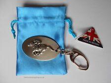 Brushed Stainless Steel Key Ring Pewter Horse Jockey Racing Badge New Made in UK