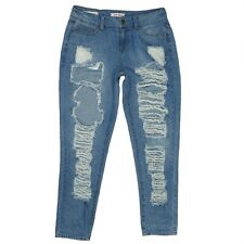 Hot Kiss Denim Skinny Destroyed Size 6 Womens Blue Jeans High Rise Grungy