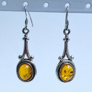 Sterling Silver 925 Vintage Drop Ladies Earrings with Amber Hook Fasteners
