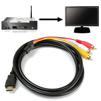 1.5M Video Audio AV Adapter CINCH KABEL HDMI Stecker auf 3 RCA f. HDTV 1080P