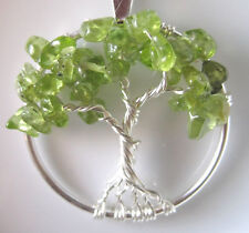 Tree of Life Necklace Pendant Peridot Raw Gems August Birthstone Sterling Silver
