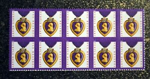 2018USA #5419 Forever Purple Heart Medal - Block of 10 Mint Stamps half sheet