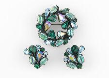 Regency Japanned Brooch & Clip Earrings - Poured Glass, Blue & Green Rhinestones