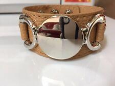Bracelet manchette simili cuir beige