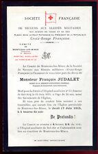 faire-part de décès Mr. François Judalet mort pour la France . 1915