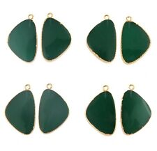 Designer Pair Green Onyx Yellow Gold Plated DIY Gemstone Earring Connector