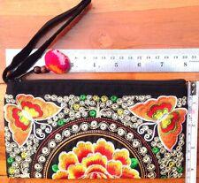 Thai Hmong Ethnic Tribal Embroidered Wrist Bag Bohemian Handmade Butterfly