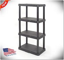 4 Tier Plastic Freestanding Storage Organizing Black Shelf Durable Indoor Garage