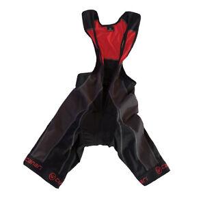 Canari Men's Padded Bib Cycling Shorts in  Black & Red, Size S. Italian Fabric