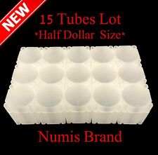 Lot - 15 Numis Square Coin Tubes Half Dollar Size Stackable Safe Storage Durable
