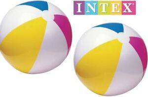 """2x 24"""" Intex Inflatable Blow Up Panel Beach Ball Swim Pool Float Toy Twin Pack"""