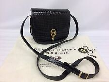 Genuine Leather Products Crocodile Black Shoulder Bag 7E170810m*