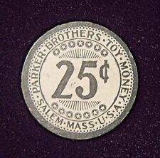 Rare 1890-1920 Parker Brothers Toy Money Twenty-Five Cents Coin Paper Coin.