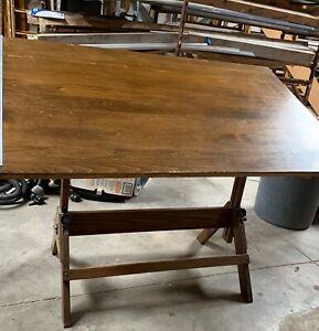 Antique Hamilton Cranking Drafting Table Industrial Desk - Red Oak