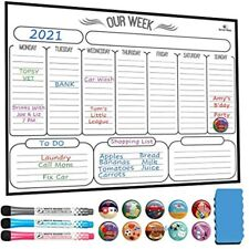 Magnetic Weekly Dry Erase Board Calendar Whiteboard Planner Refrigerator Stain