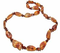 Genuine Raw Polished Baltic Amber Necklace for Adult Cognac