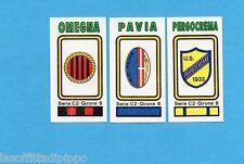PANINI CALCIATORI 1978/79-Figurina n.569- OMEGNA+PAVIA+PERGOCREMA -SCUDETTO-Rec