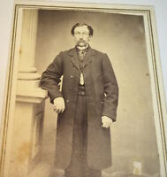 Antique Victorian American Civil War Era Gentleman, Mustache! NY CDV Photo! US!
