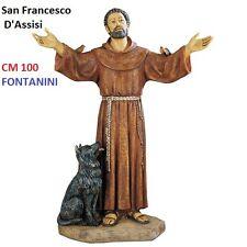 Statua religiosa FONTANINI san francesco d'assisi cm 100 in resina arte sacra