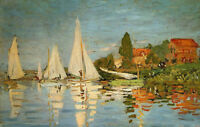 Art Oil painting Claude Monet - Regatta at Argenteuil with sail boats canvas