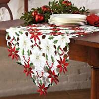 38X176cm Embroidery Table Runner Placemat Tablecloth Christmas Flowers Decor Red