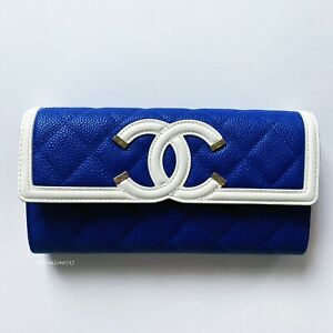 NEW CHANEL 19C LARGE BLUE RED WHITE L-GUSSET FLAP CAVIAR LEATHER WALLET CLUTCH