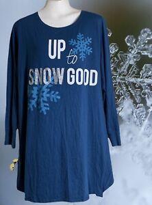 "Cacique Pajama Sleep Shirt Cotton Modal Size 18 / 20 Lane Bryant ""SNOW"""