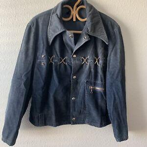 Vintage 40s 50s Gabardine Rockabilly Corduroy Shirt Jacket Fades Braided Leather