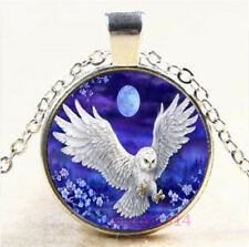 Moonlight OWL Cabochon Silver/Bronze/Black/Gold Chain Pendant Necklace #7659