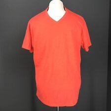 OLD NAVY T Shirt L Mens Red Orange Basic Tee Slub Knit V Neck Premium