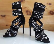 """CR Black Suzzy Straps & Silver Stud Design 4.5""""  High Heel Shoes Boots 6-11"""