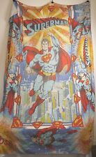 "LARGE VINTAGE DC COMICS SUPERMAN BED THROW BLANKET 1980 68""x98"""