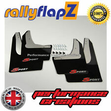 rallyflapZ HONDA CIVIC SPORT EP3 (01-07) Mud Flaps Black Logo Silver/Red 4mm PVC