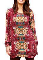 UK Sizes 12-26 (EU 38-52) Ladies Red Pattern Long Sleeve Tunic Top