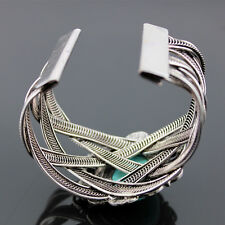 Boho Vintage Tibetan Silver Turquoise Open Wide Bangle Cuff Rectangular Bracelet
