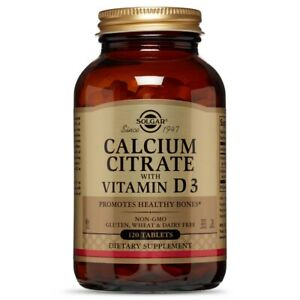 Solgar Calcium Citrate with Vitamin D3 120 Tablets FREE Shipping FRESH