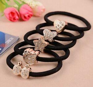 10Pcs Cute Crystal Elastic Hair Ties Band Ropes Ring Ponytail Holder Accessories