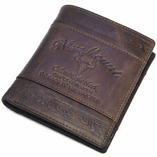 Vintage Style Genuine Leather Mens Bifold Wallet Full ZIPPER Purse Cowboy