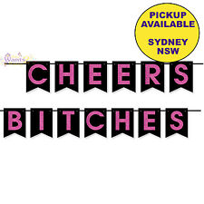 HENS NIGHT BACHELORETTE PARTY SUPPLIES CHEERS BITCHES PENNANT BANNER DECORATIONS