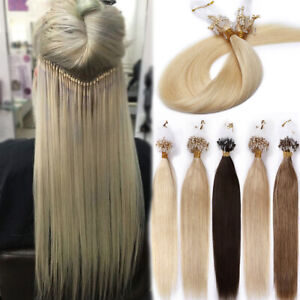 200S Strands 100% Remy Human Hair Extensions Micro Loop Ring Beads Full Head UK
