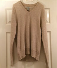 GAP Ladies 100% Cashmere V Neck long sleeve Oatmeal Beige jumper Medium 10 12