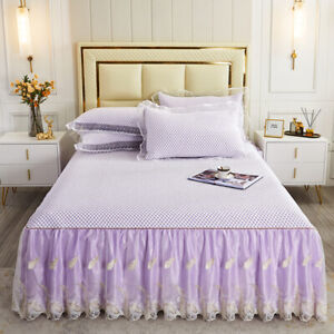 Lace embroidered bed skirt pure cotton-padded bedspread set bed cover Cool peas