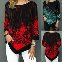 Women Floral Print Long Sleeve T-Shirt Tops Ladies Casual Loose Irregular Blouse