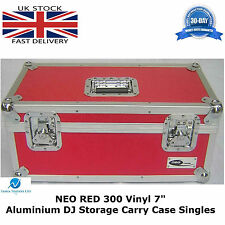 "7"" Red Vinyl Record Aluminium DJ Flight Storage Carry Case Box Holds 300 Tough"