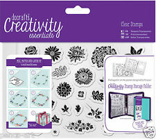 Docrafts Papermania TRAD FLORAL flowers A6 stamp set 31pc+ storage folder pocket