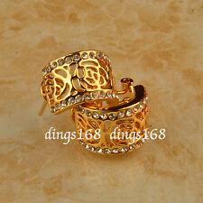 18K Gold Filled See-through Rose Flower Crystal 10mm Wide Hoop Stud Earrings ZC0